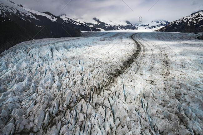 Aerial view of Juneau's Mendenhall Glacier