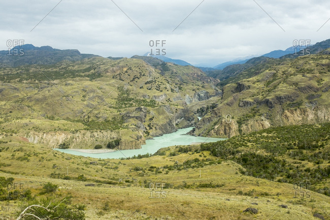 Baker River winds through Patagonian mountains