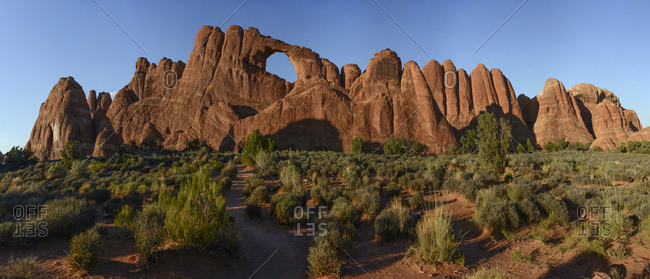 Panoramic image of Skyline Arch in Arches National Park