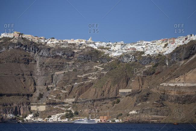 Views of Santorini Greece from the Adriatic Sea