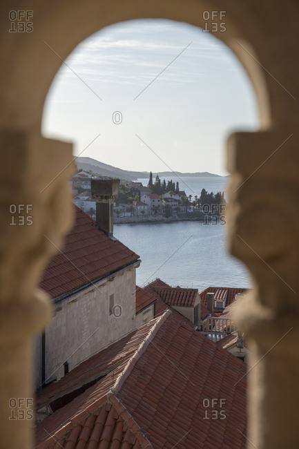 The Adriatic Sea and Korcula's old town from the bell tower of Church of Saint Joseph