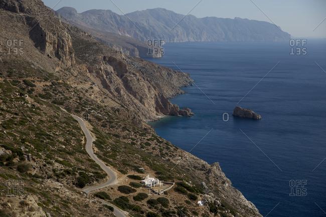Winding roads in Amorgos, Greece