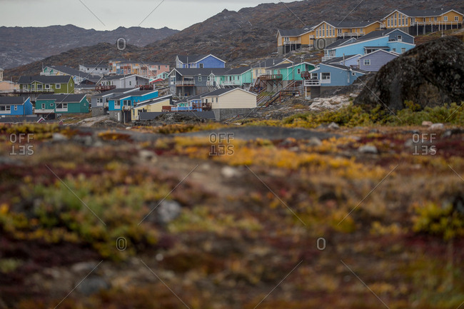 Town of Ilulissat Greenland in a tundra landscape