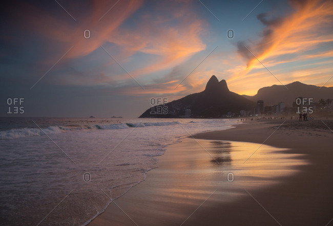 Sunset over Ipanema beach in Brazil's Rio de Janeiro
