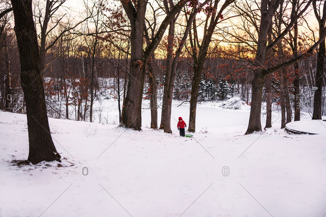 Child pulling his sled up a hill