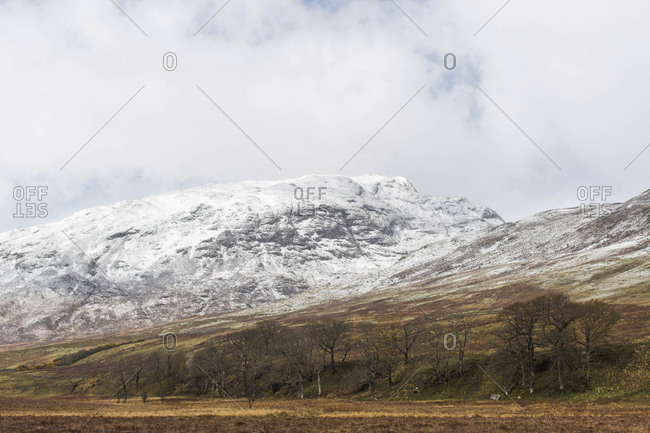Snowy mountain landscape in northern Scotland