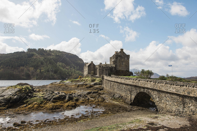 View of the Eilean Donan Castle near the Isle of Skye, Scotland
