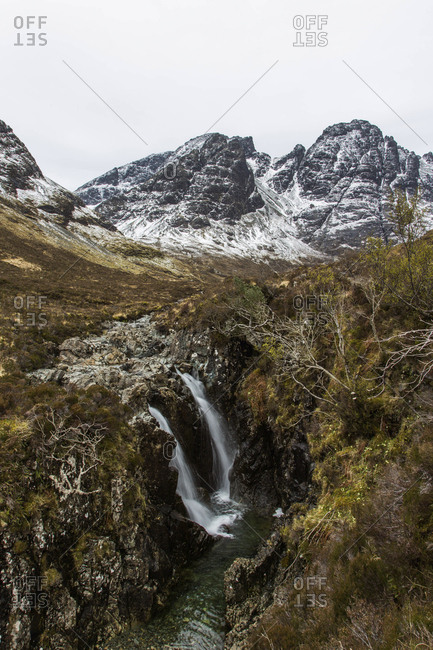 A waterfall in the foothills of the Cuillin Mountains on the Isle of Skye, Scotland