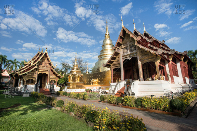 Garden at the Wat Phra Singh temple in Chiang Mai, Thailand
