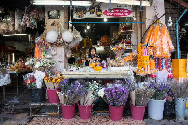 Chiang Mai, Thailand - December 3, 2017: Flower shop at the market in Chiang Mai, Thailand