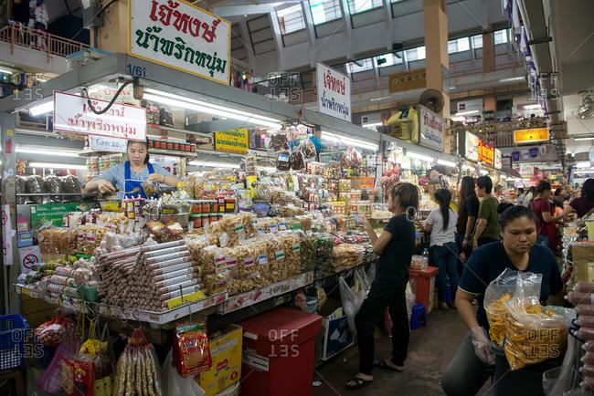 Chiang Mai, Thailand - December 3, 2017: Food vendor at the Warorot Market