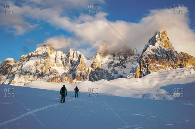 Rolle Pass, Italy - February 19, 2016: Backcountry ski touring in the Italian Dolomites