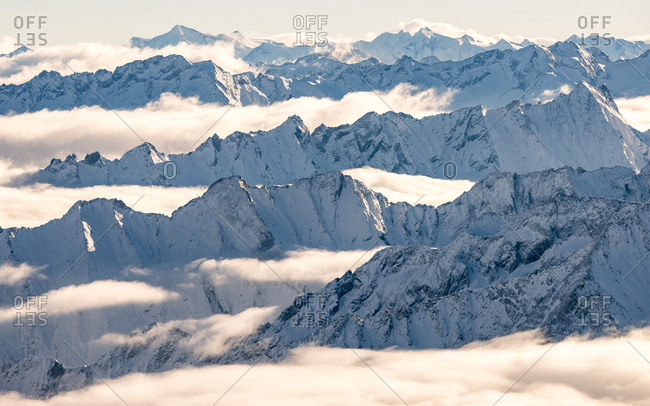 Tyrol, Austria - October 24, 2014: Panorama view from top of the Hintertux Glacier in Tyrol