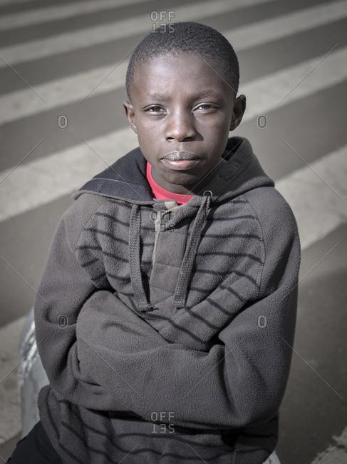 Nairobi, Kenya - July 6, 2017: A proud looking young and local boy seen in Nairobi