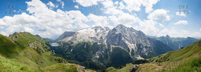 Groden, Italy - July 19, 2015: The Val Gardena valley in the Dolomite Mountains in Northeastern Italy