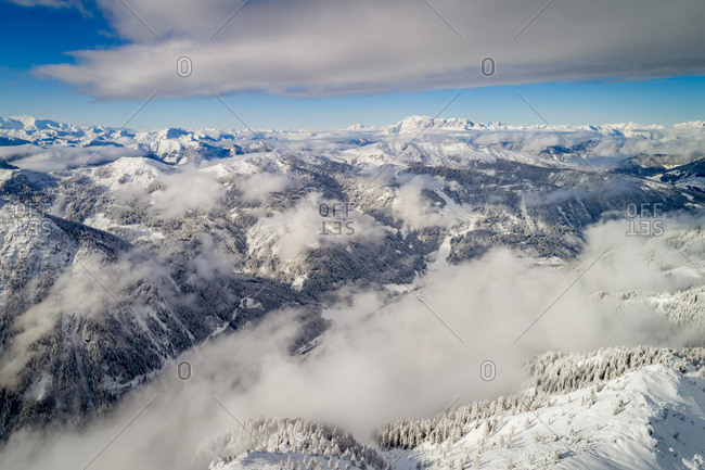 Zauchensee, Austria - December 13, 2017: Overlooking the mountain range with its snow covered valleys at Zauchensee