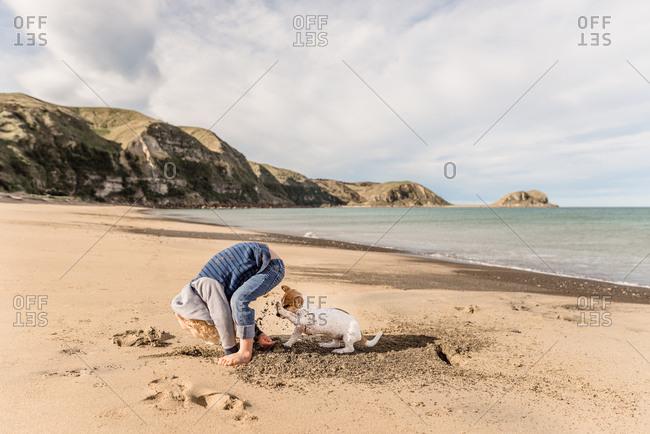 Boy digging with dog on a sandy beach