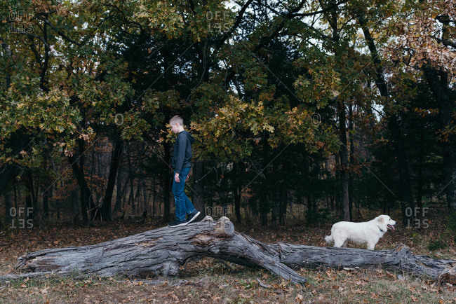 Boy balancing on a log as his dog stands guard