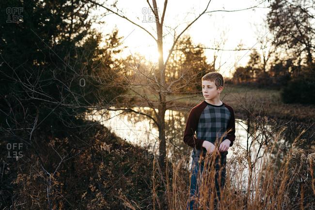Portrait of a teenage boy on a Fall evening
