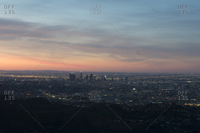 Los Angeles, California - March 15, 2015: Aerial view of cityscape against sky during sunset