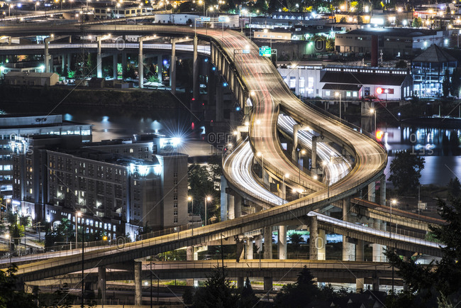 Portland, Oregon - June 26, 2014: High angle view of elevated roads in city at night
