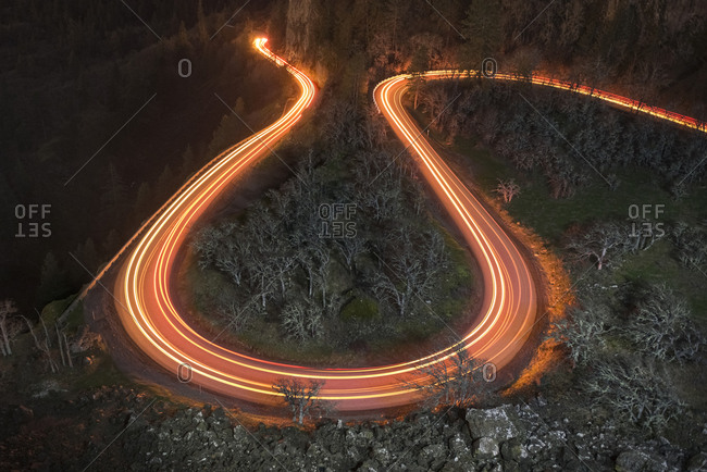 High angle view of light trails on road at Columbia River Gorge