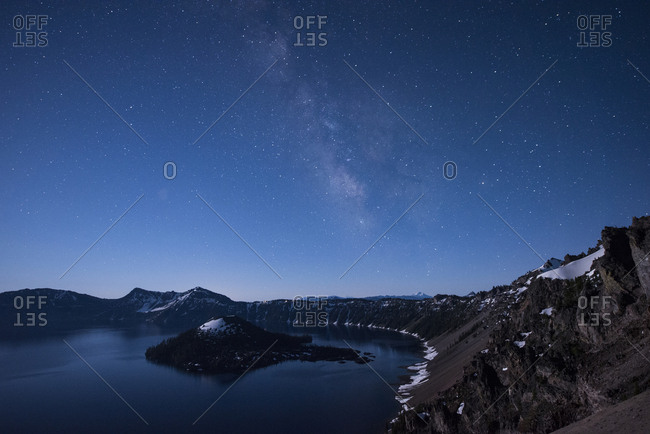 Scenic view of Crater Lake National Park against sky at night