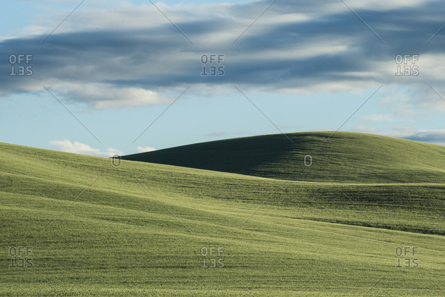 Scenic view of Palouse Hills against cloudy sky