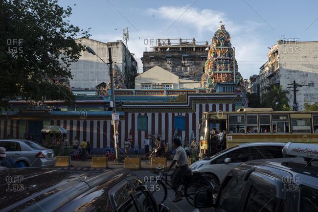 Yangon, Myanmar - September 29, 2016: Street scene at downtown Yangon