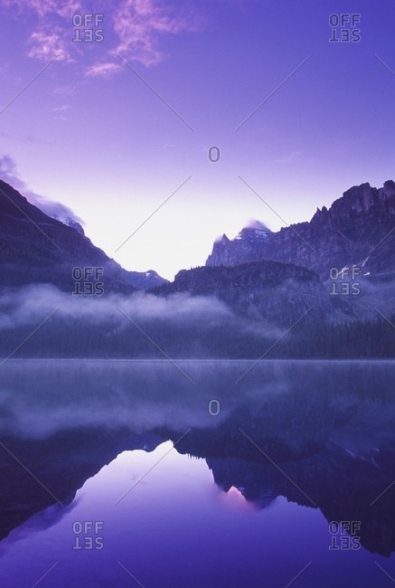 Lake and scenic mountains