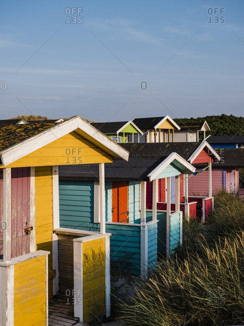 Colorful huts on the beach in Skanor Falsterbo, Sweden