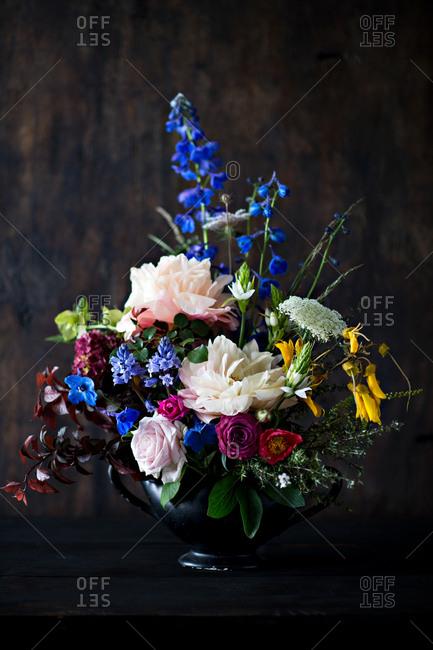 Colorful floral arrangement on a wooden table