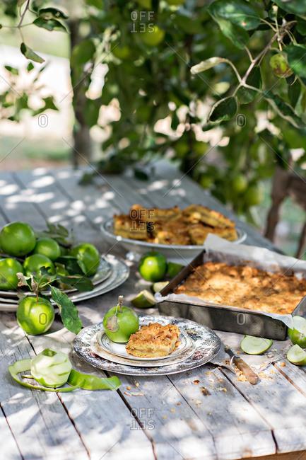 Apple shortcake on an outdoor table