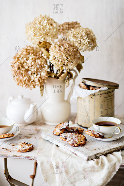 Cookies and tea on a rustic table