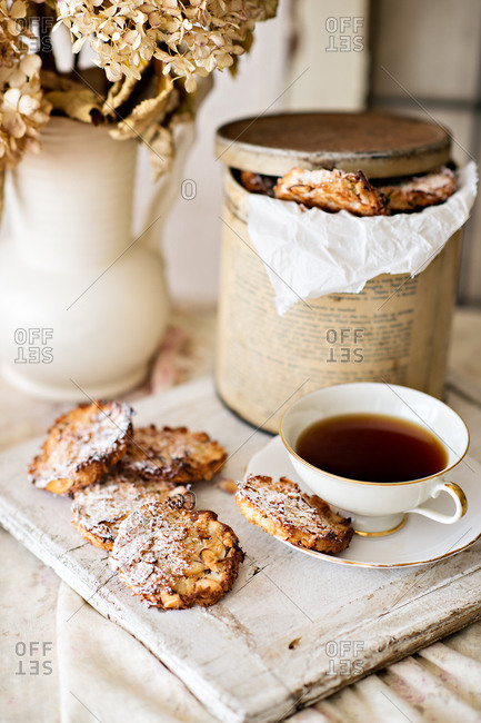 Cookies served with tea