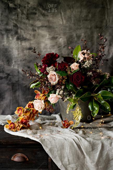 Floral arrangement and twinkle lights