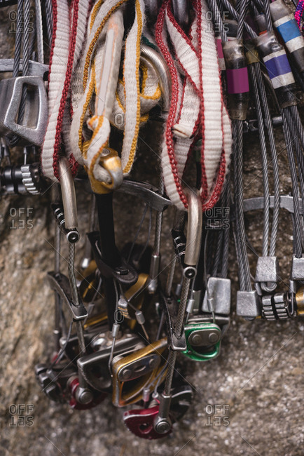 Close-up of various rope attached to carabineer