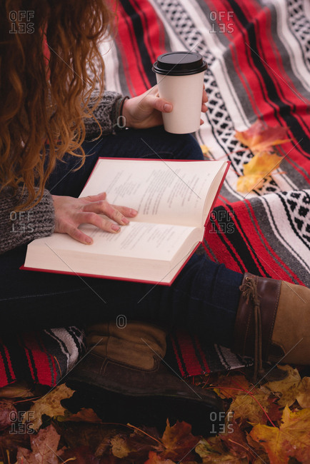 Close-up of woman sitting on blanket and reading novel in the autumn park