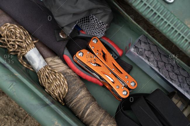 Fishing equipment arranged in tool box