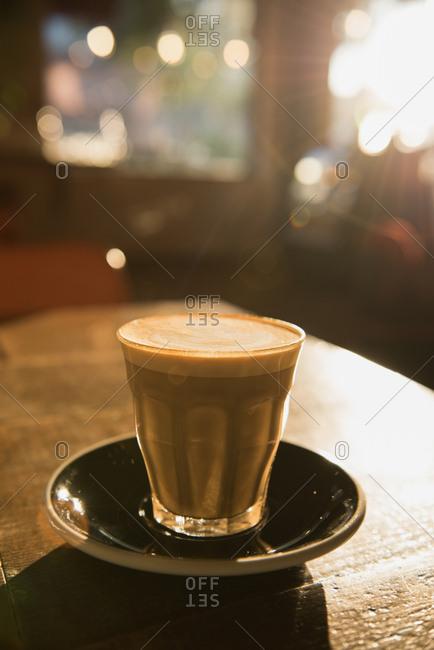 Creamy espresso on table