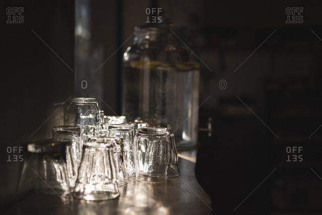 Glasses arranged on table