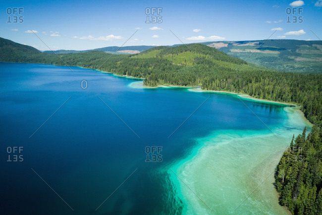 Turquoise water in the shallow banks along the coast line