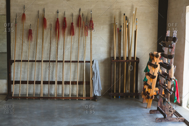 Long pole and swords arranged on rack