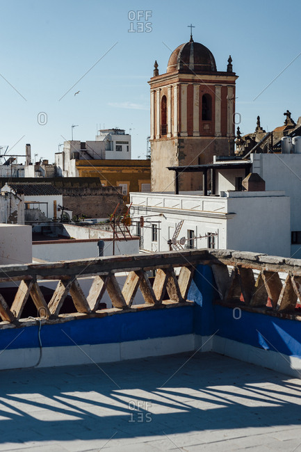 View of Tarifa village and church from rooftops