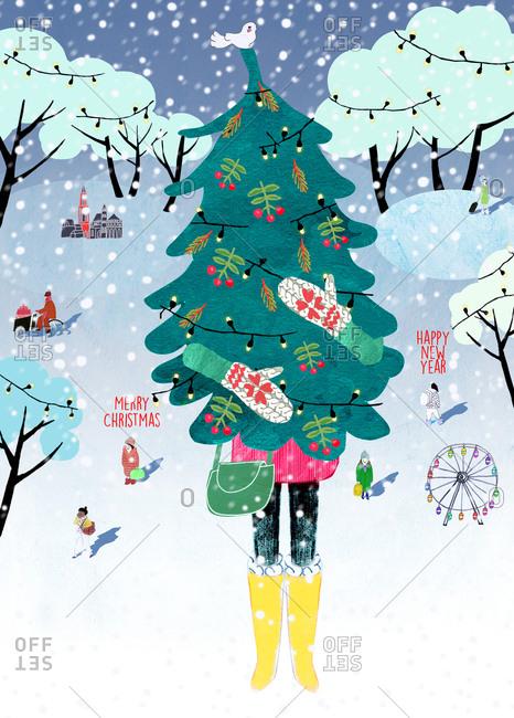 Woman carries Christmas tree in wintry scene