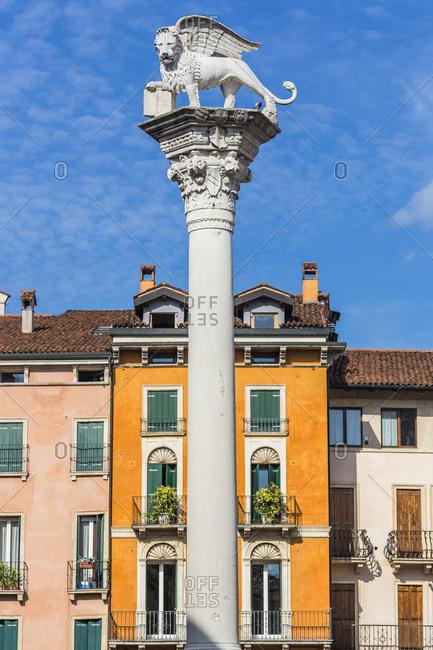 Italy, Veneto, Vicenza . Piazza dei Signori, the Colonna del Leone di San Marco