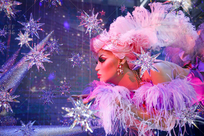 New York City, New York, USA - December 18, 2017: Mannequin holiday display with stars and feathers