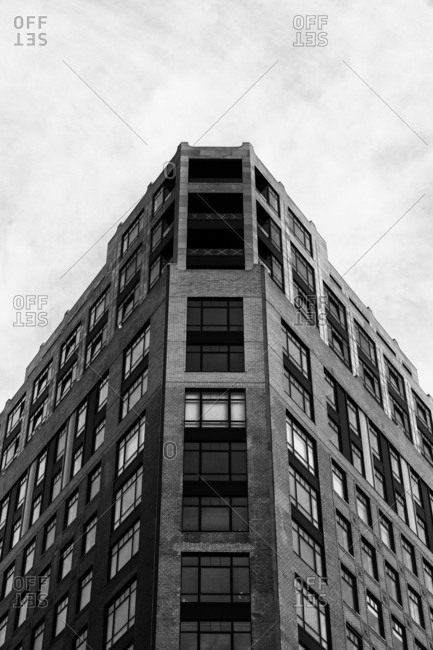 Low angle view of building in New York City in black and white