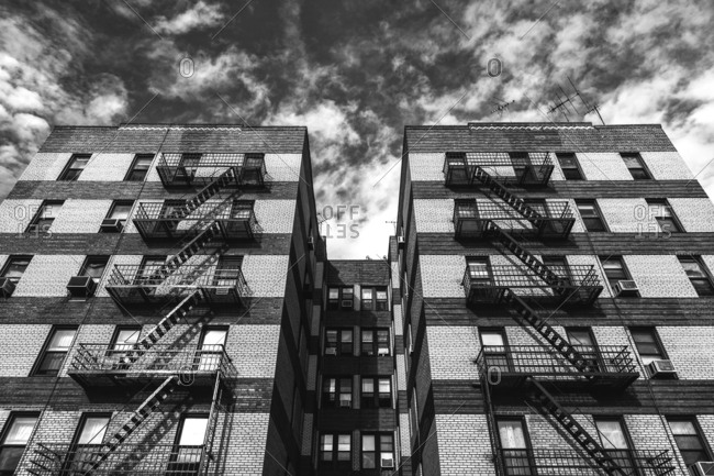 New York City apartment building with fire escapes