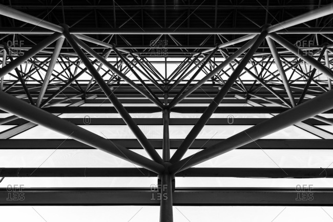 Architectural detail of the Jacob K. Javits Convention Center in Manhattan